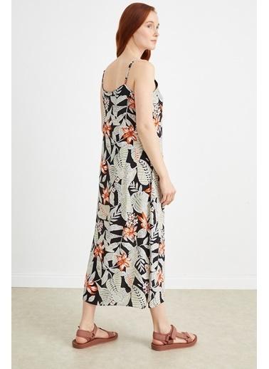 Curly Çiçek Desenli, İp Askılı Elbise Siyah